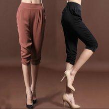 2017 verão mulheres marca de Moda casual feminina plus size bezerro-comprimento de seda cintura Elástica harem pants calças roupas roupas(China (Mainland))