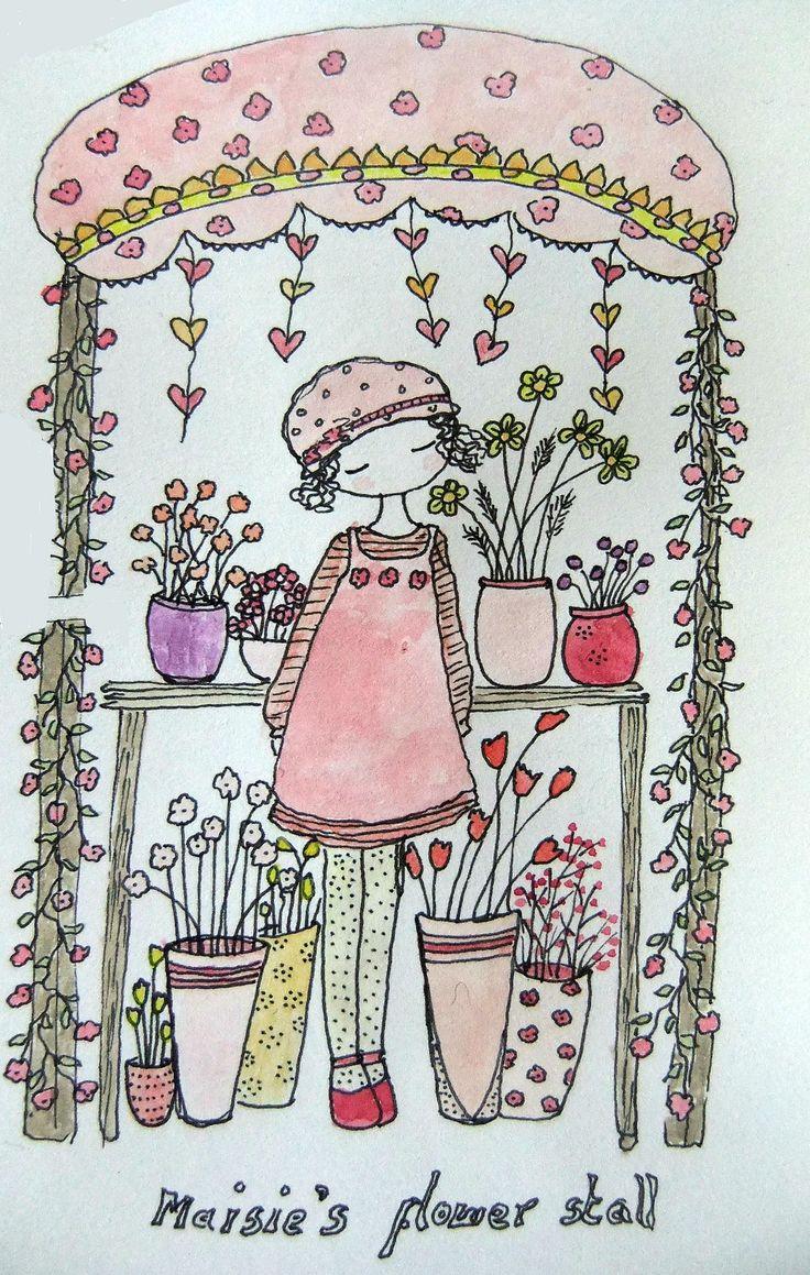 https://flic.kr/p/bzVEzL | flower stall sketch | pen and watercolours