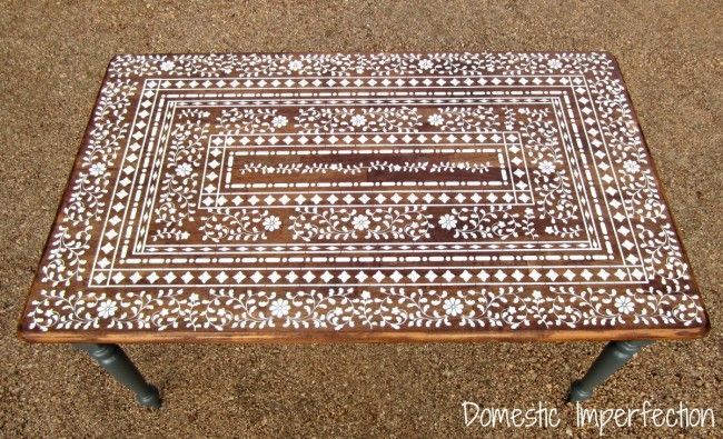 Indian Inlay Stenciled Table -- I know I'll never make it but,  it's awesome & pin worthy!