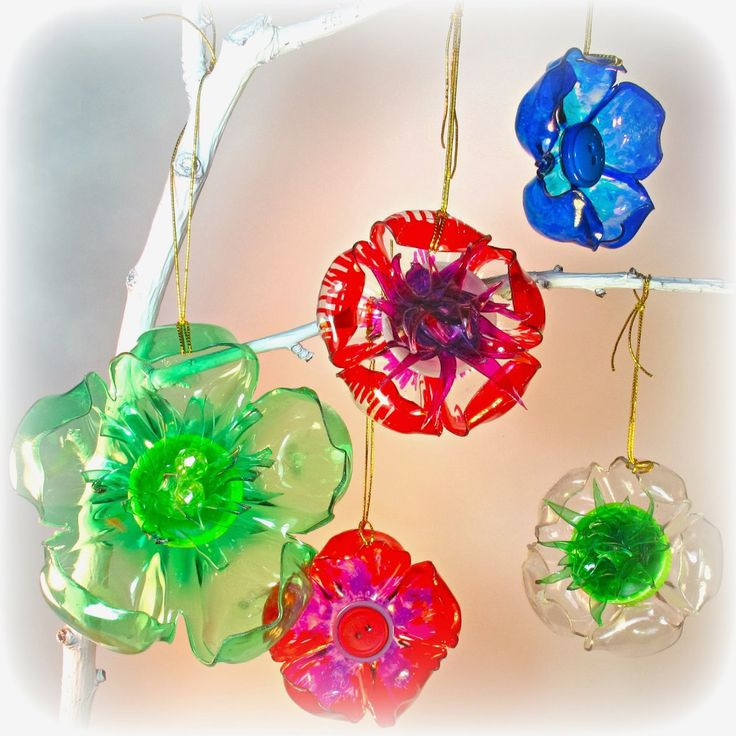 recycled plastic bottle flowers from BlueKatKraft