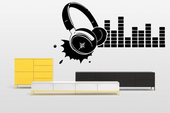 Removable Vinyl Sticker Mural Decal Wall Decor Poster Showcase Electronic Dance Music EDM Trance DJ Cool Headphones Love Sound Stereo F1968