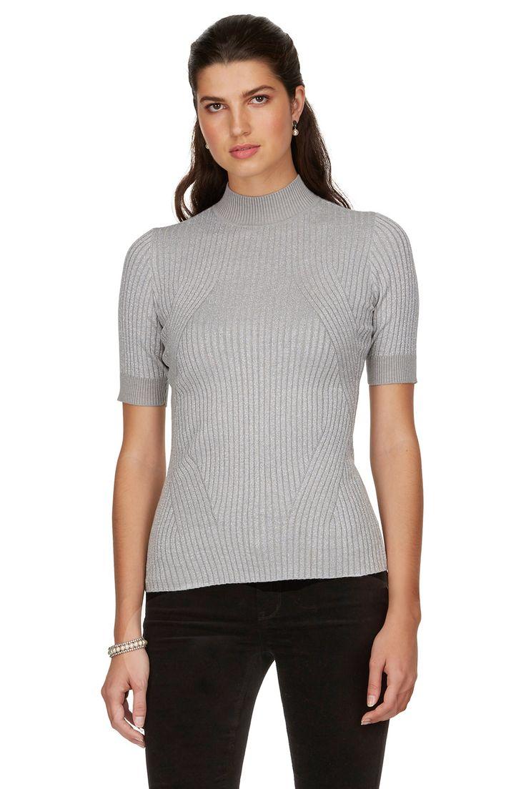 Haut ajusté en tricot côtelé métallisé
