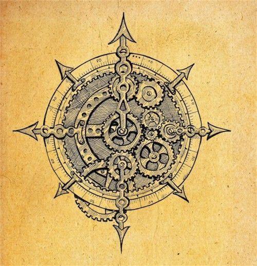 Gear compass boussole pinterest engrenages et rose - Rose des vent tatouage ...