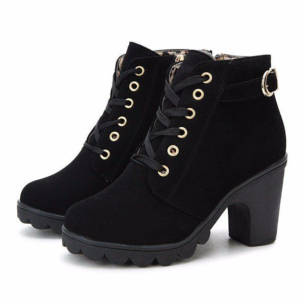 Pu Lace Up Knight Boots