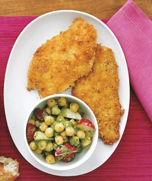 Chicken Cutlets With Chickpea and Pesto Salad. Panko bread crumbs make these pan-fried cutlets extra crisp and light.  Chicken was ok, I like traditional chicken cutlets more. Chickpea salad was good, I did not include radishes, but added cucumber, black olives, heirloom tomatoes and feta. Yum, refreshing.