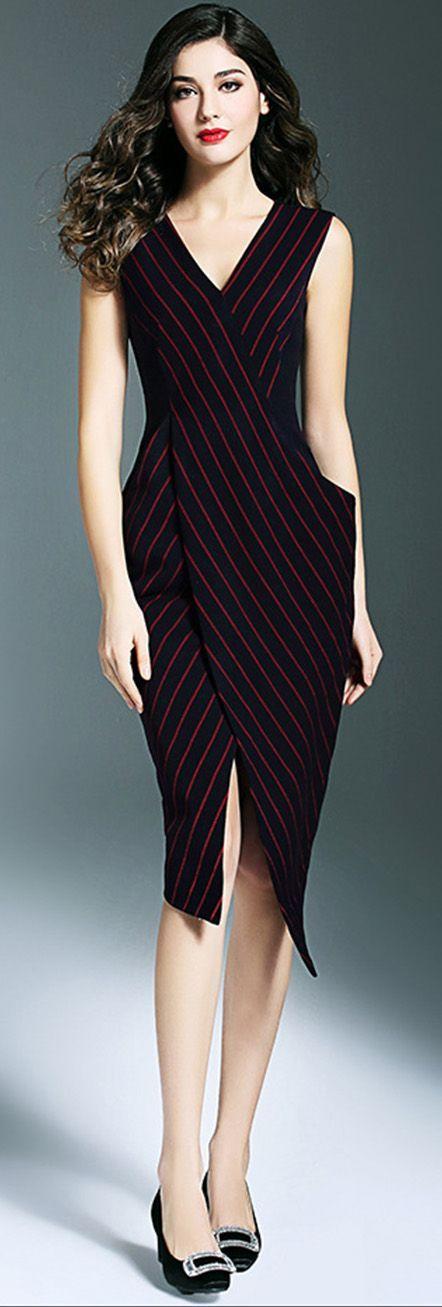 Black V Neck Slit Striped Dress