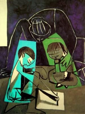 Picasso : Claude drawing Francoise and Paloma