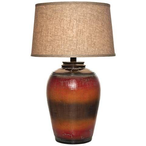 Kearny Red Orange Urn Table Lamp