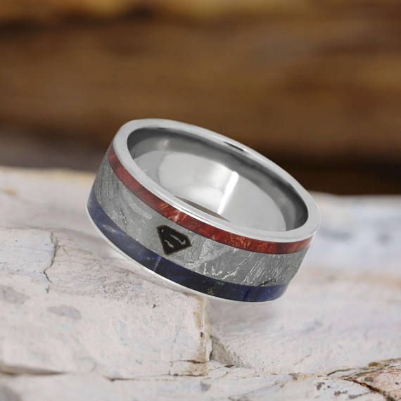 superhero ring titanium superman wedding band with box elder - Superman Wedding Ring