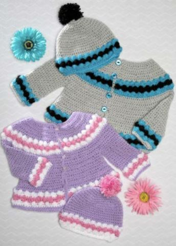 Premier® Everyday® Baby Crochet Cardigan and Cap Set