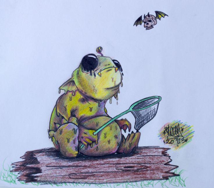 Cazador! Ilustración hecha con lapices de color. 20x30cm Técnica: Policromia