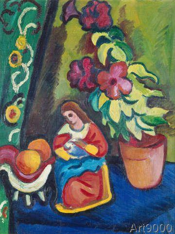 August Macke - Stilleben mit Madonna, Petunie und Äpfeln