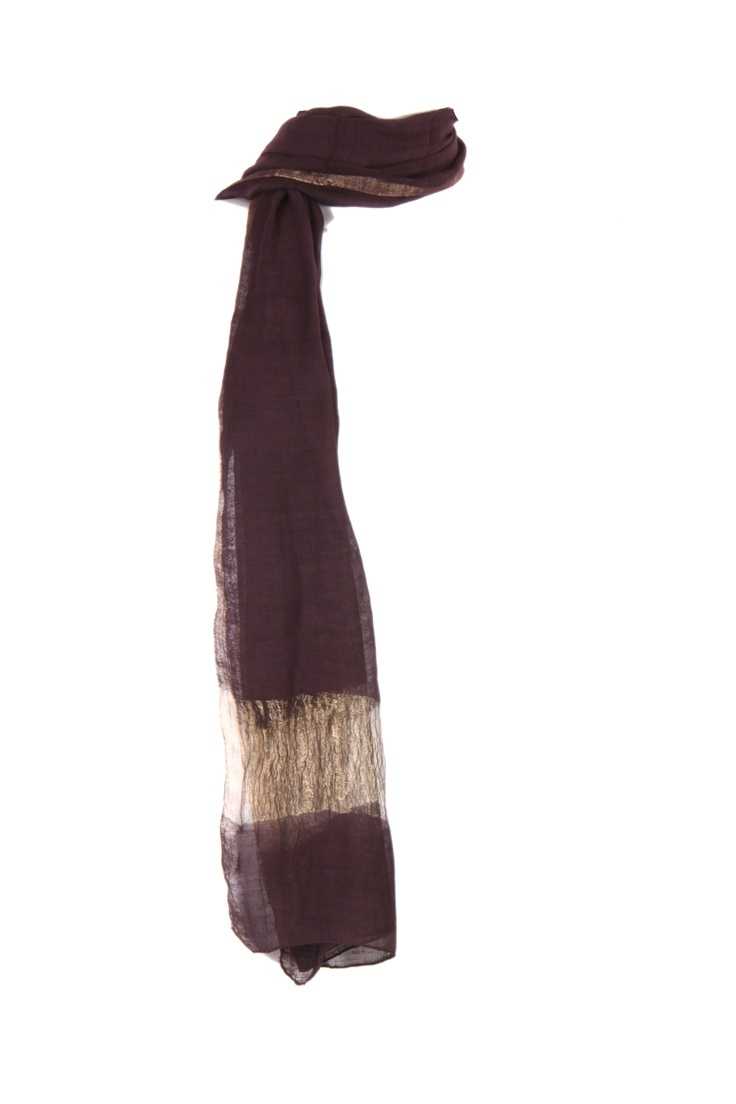 chocolate brown woven dupatta with gold zari border along the width, with pikot finish in cotton silk, 2.25m in length #Fashion #Style #Colors #Drapes #W for #Woman