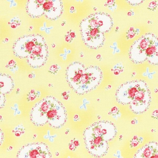 Lecien - Princess Rose - Hearts - Yellow £3.25 http://www.thehomemakery.co.uk/lecien-princess-rose-hearts-yellow