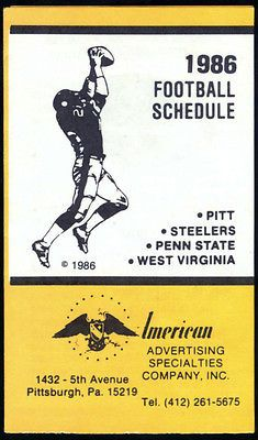 1986 Pittsburgh Steelers West Virginia Penn State Pitt Football Pocket Schedule | eBay