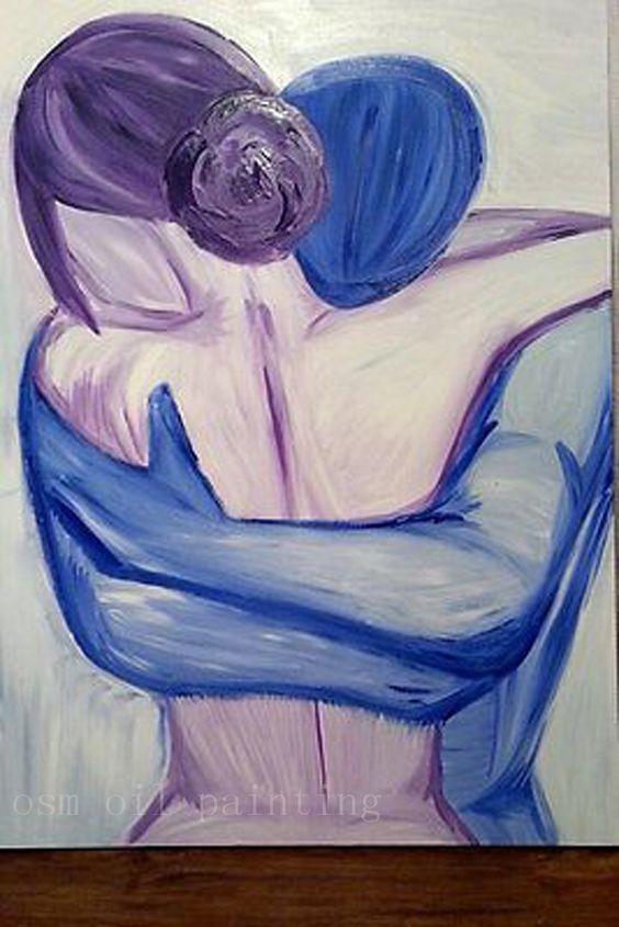 Caligrafía hecha a mano Fina de la Pared Obras de Arte Pintado A Mano de Pintura Abstracta de Acrílico de Una Pareja Abrazada Pareja Pintura Al Óleo Desnuda(China (Mainland))