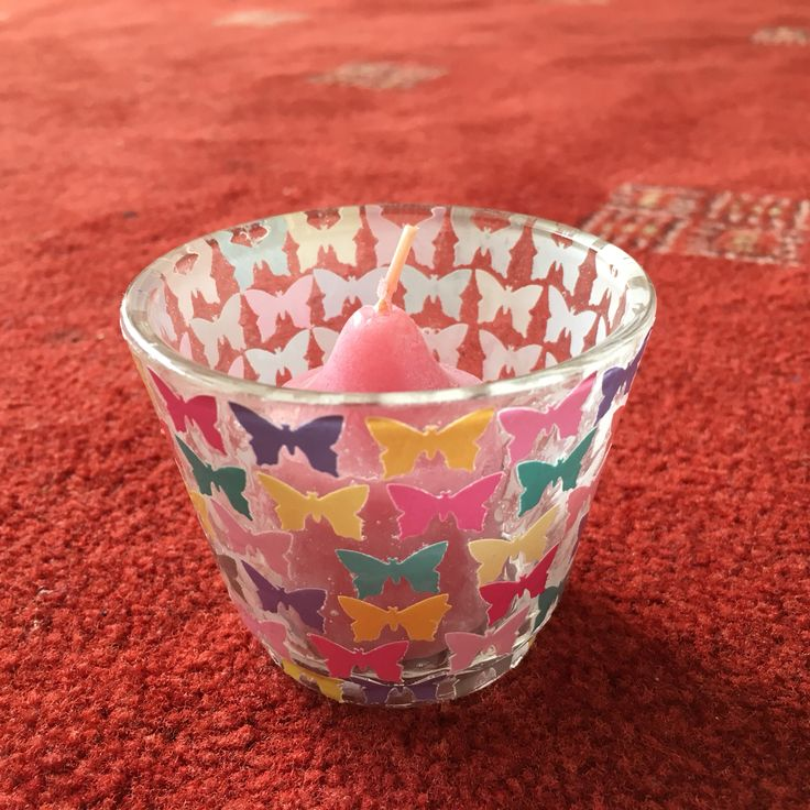Tea-Light Holder Decoupaged with Multi-Coloured Hole-Punched Butterflies
