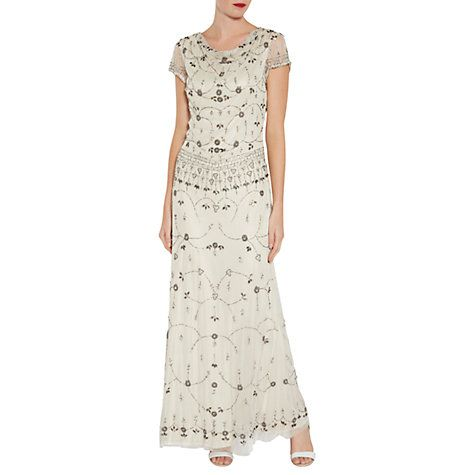 Buy Gina Bacconi Vintage Beaded Maxi Dress, Oyster Online at johnlewis.com