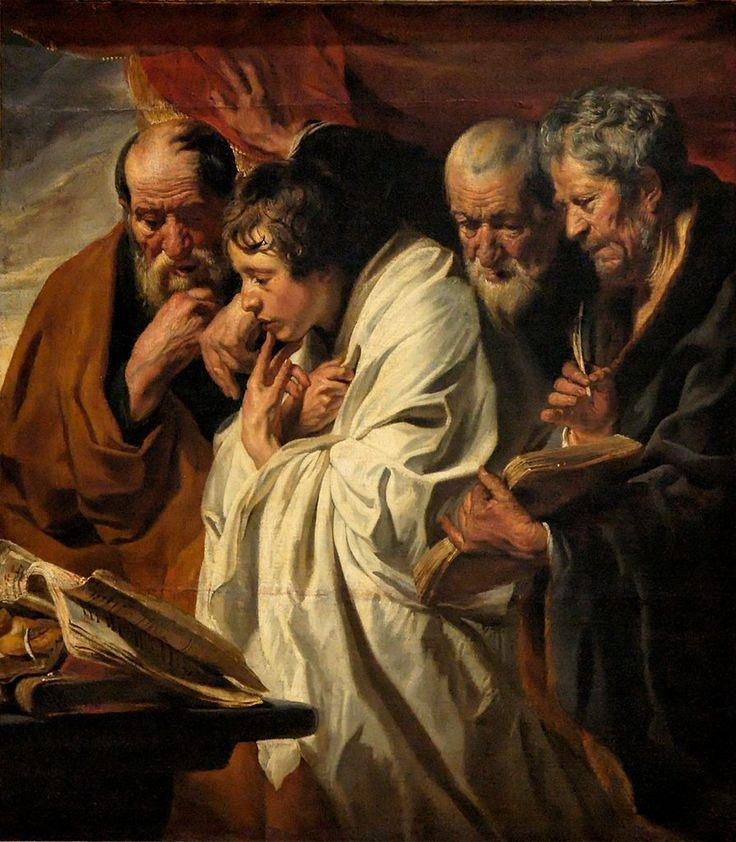 The Four Evangelists. St. Matthew, St. Mark, St. Luke, and St. John. And the apostles said to the Lord, Increase our faith.So the Lord said, If you have faith as a mustard seed, you can say to this mulberry tree, Be pulled up by the roots and be planted in the sea, and it would obey you.Luke 17:5-10