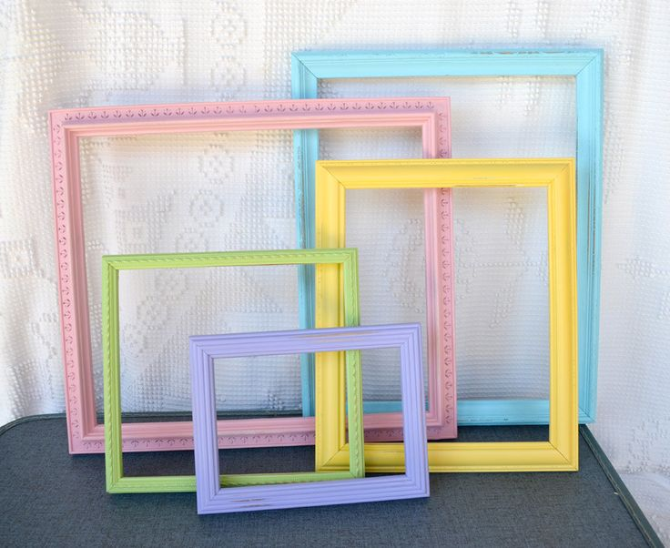 Shabby Chic Painted Frames Set Of 5 Pastel Colors Aqua Pink Yellow Green Purple Upcycled