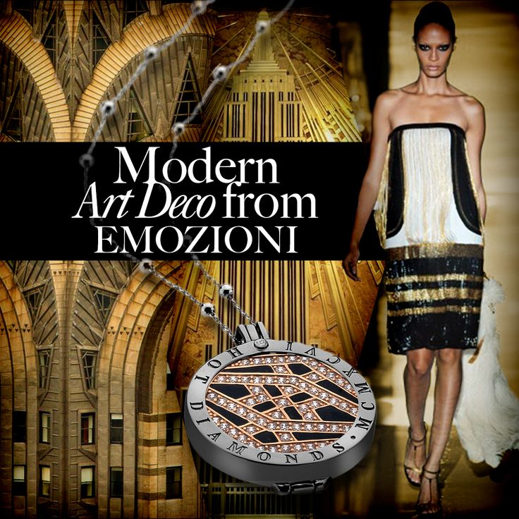 #ArtDeco #Black #Gold #EmpireState #Gatsby #Dress #Necklace #Silver #SterlingSilver #Interchangeable #Coin #Jewellery #Jewelry #Emozioni #HotDiamonds #Style #Fashion