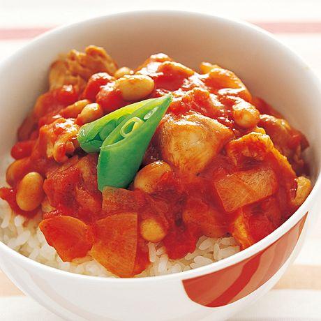 トマトで美味しく食べる鳥丼 作り方♪「チキントマト煮丼」
