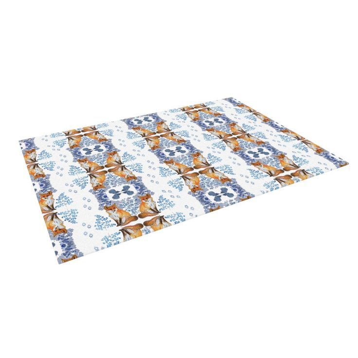 "DLKG Design ""Red Fox in Snow"" Blue Orange Indoor / Outdoor Floor Mat from KESS InHouse"