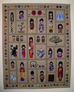 Japanse Kokeshi-poppen quilt