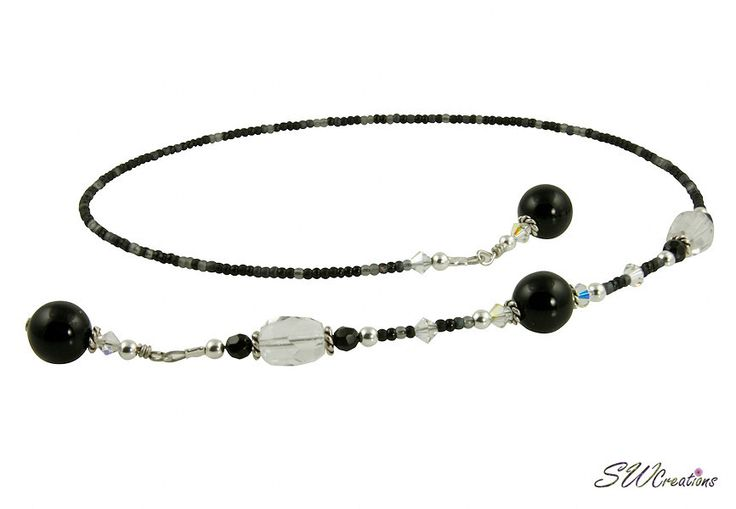 A gorgeous black and grey 'Handcrafted One of a Kind' beaded bookmark with black onyx gemstones & brilliant crystal AB Swarovski crystals. This high quality handmade 17 inch beaded bookmark for a 10 i