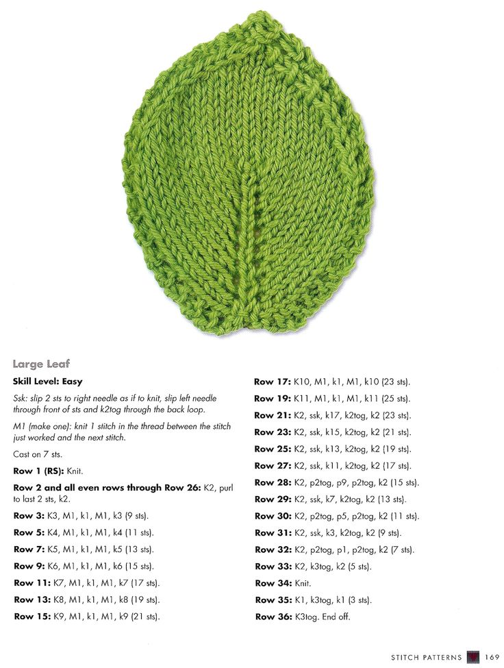 Knitting Instructions M1 : Leaf coaster m in this case is yo for less noticeable