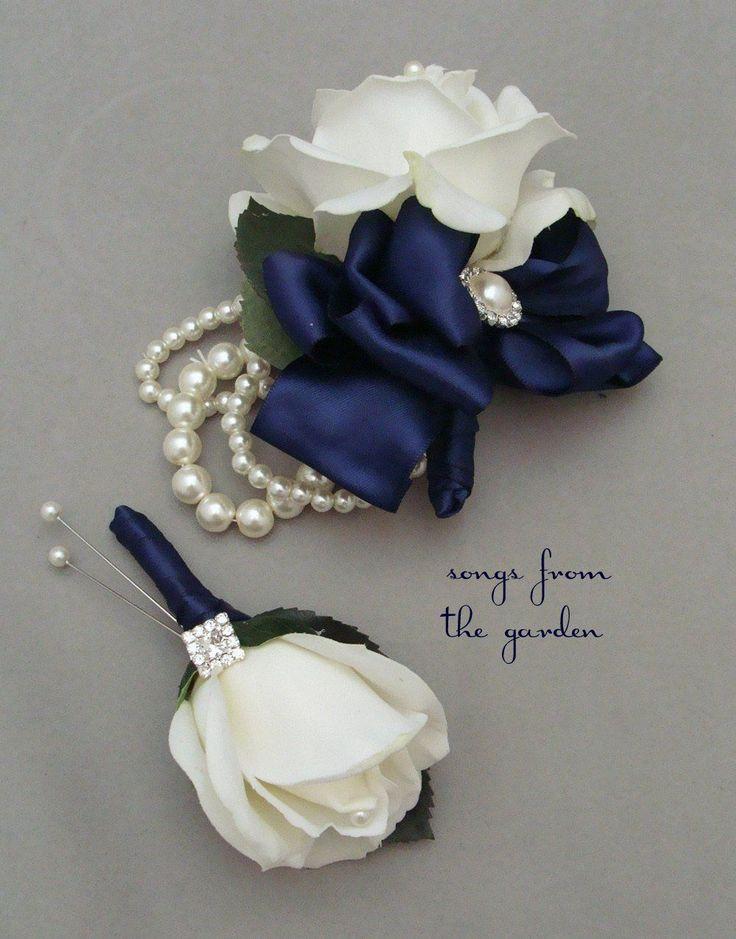 White Navy Rose Boutonniere & Corsage Rhinestone Navy Ribbon Wedding Prom Homecoming