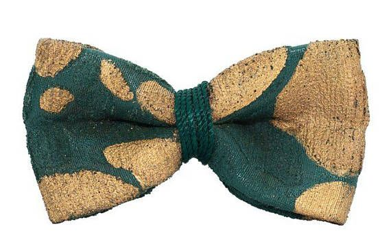 Papillon Special Imperial Verde Oro in tessuto resinato dipinto a mano made in Italy
