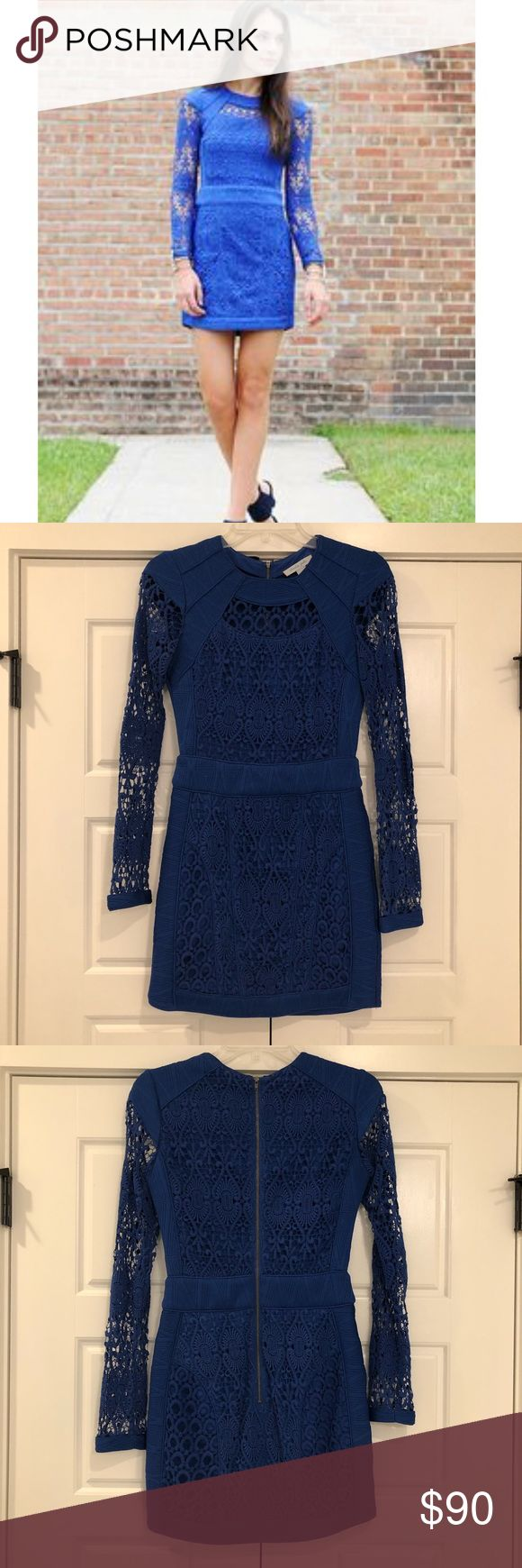 Charlie Jade Blue Lace Dress Beautiful Charlie Jade blue lace dress. I wore this for my rehearsal dinner. One of the lace sections has a slight pull-close up photo included. Charlie Jade Dresses Long Sleeve