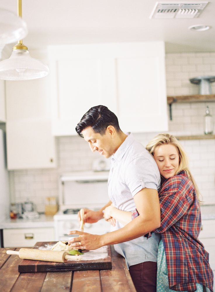 Cozy Kitchen Engagement Shoot by AVE Styles (Concept and Wardrobe Styling), Alyssa Hodson (Assistant, AVE Styles Intern) + Melissa Jill Photography - (Models: Liz & Cesar Garcia With The Agency AZ)