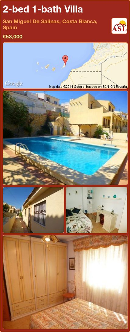 2-bed 1-bath Villa in San Miguel De Salinas, Costa Blanca, Spain ►€53,000 #PropertyForSaleInSpain