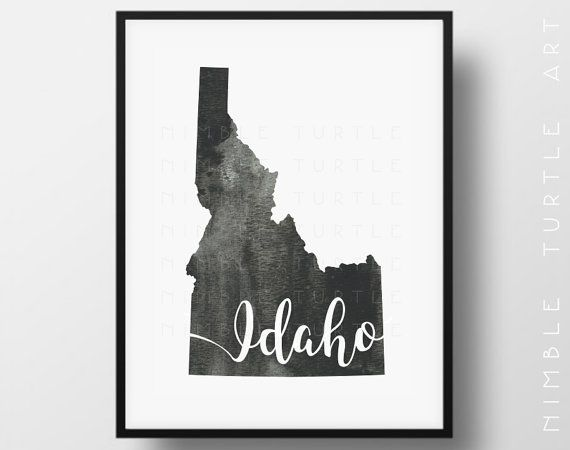 Idaho State Outline Watercolor - Idaho Wall Art Map  -  Typography Printable Download