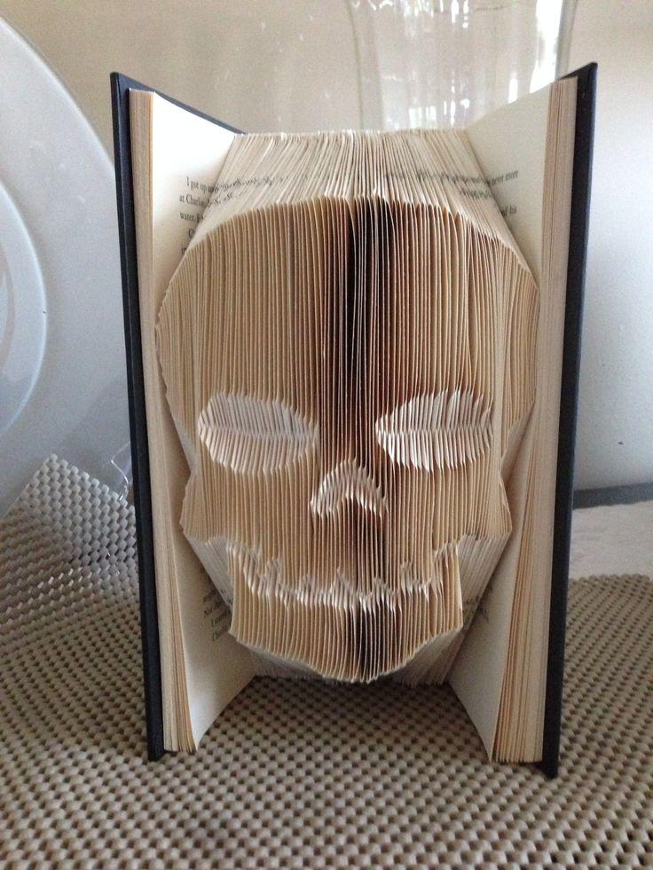 Skull, Shadow book, Folded book art