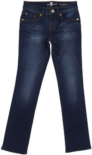 Climbing-7 For All Mankind Girls' Straight Leg - Light Blue Stretch - 8