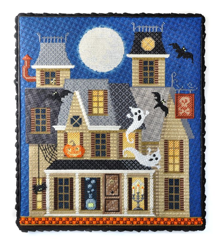 Haunted Halloween House needlepoint kit for the Needlepoint.Com Retreat in October 2015
