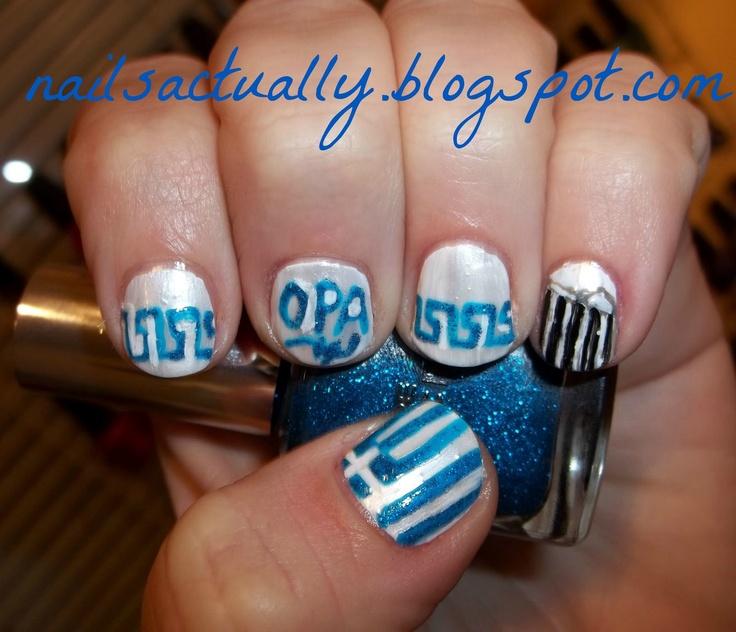 Greek Nails-- Greek Flag, Greek border, Opa!, and the Acropolis