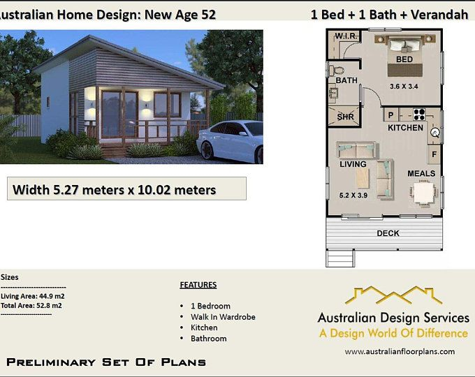 59 9 Bay Cottage 645 Sq Feet Or 59 9 M2 2 Bedroom 2 Bed Etsy House Plans For Sale Free House Plans House Design