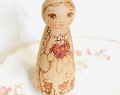 Immaculate Heart of Mary Natural Catholic Saint Doll - Wooden Toy - Made to Order