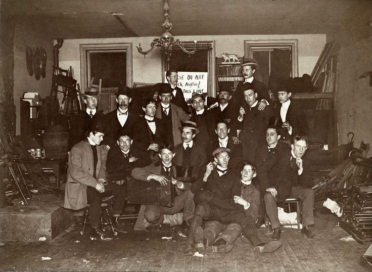 Ashcan School artists & friends at John French Sloan's Philadelphia Studio, 1898