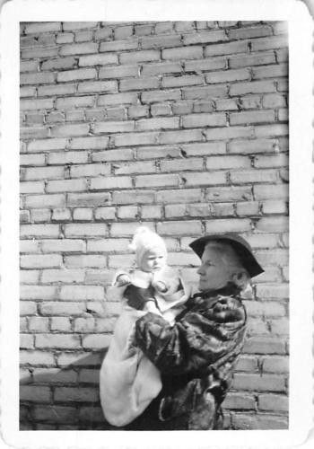 Photograph snapshot vintage black and white grandma holding newborn baby 1940s