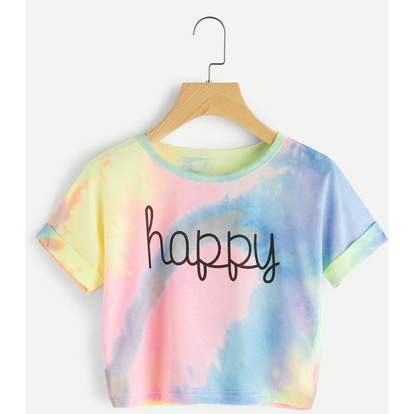 SheIn(sheinside) Cuffed Sleeve Crop Pastel Tie Dye Tee (€6,78) ❤ liked on Polyvore featuring tops, t-shirts, multi, white tees, short sleeve tee, white crop tee, polyester t shirts and tie dye crop top