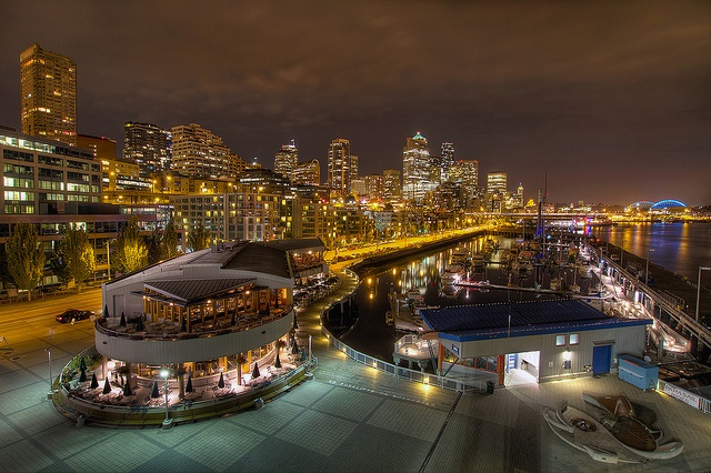 Seattle Waterfront Downtown Skyline from Pier 66 at Night - HDR by David Gn Photography, via Flickr