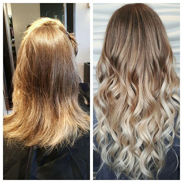 Brighter, blonder & longer. Hair done by Tina. #babeextensions #blonde #blondebalayage #extensions #beforeandafter #frederictonsalon #fredericton #behindthechair #balayage #redken #redkenready