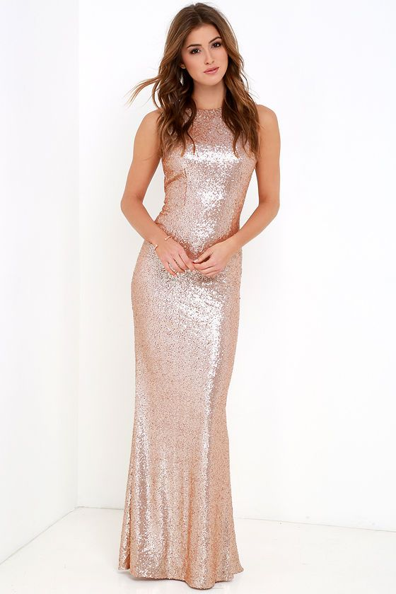 Shimmer with every step you take in the Slink and Wink Matte Rose Gold Sequin Maxi Dress! A rounded neckline and sexy cowl back top a darted, sleeveless bodice. Small matte sequins travel gracefully down a straight-cut maxi skirt. Hidden side zipper with clasp.