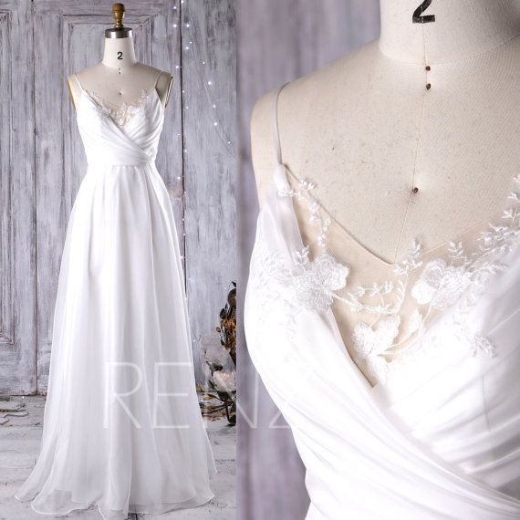 2017 Off White Chiffon Bridesmaid Dress, V Neck Lace Wedding Dress, Spaghetti Straps Prom Dress, A Line Formal Dress Floor Length (JW080)