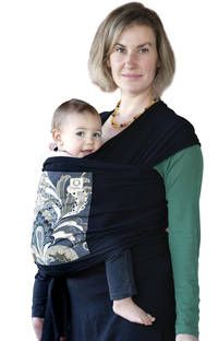 Natures Sway Carry Wrap - organic cotton stretch knit in black with charcoal central panel pocket #babywearing #babycarrier